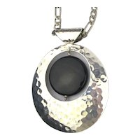 Mexican DDD Hammered Sterling Silver Pendant Necklace w/ Onyx