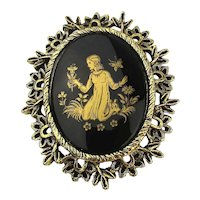 Vintage Black Glass Framed Pin Gold Lady in the Garden Brooch Pendant