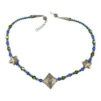 Pretty Blue / Green Crystal Bead Necklace w/ Sterling Silver Shapes