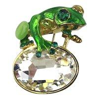 Enamel Frog on Glitzy Lily Pad Pin Brooch