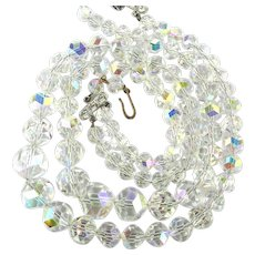 Vintage PAKULA Austrian Aurora Borealis Crystal Necklace 2 Strands