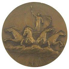 Mystery Russian Bronze Paperweight Medallion Electric Power Quadriga