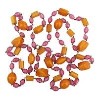 Vintage Bakelite Butterscotch Bead Necklace w/ Surprise Pink Beads