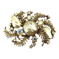 Large HAR Baroque Pearl AB Rhinestone Pin Brooch