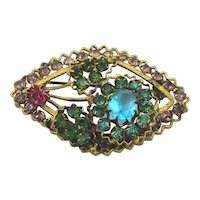 Signed CZECHO Rhinestone Pin Brooch c1930s