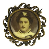 Old Victorian Real Photo Portrait Pin What's Her Story