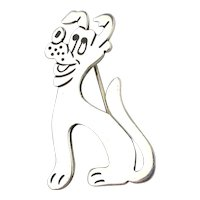 Taxco Mexican PLUTO Dog Sterling Silver Pin Brooch