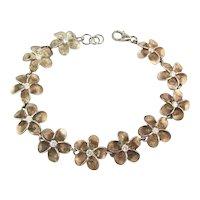 Sterling Silver Daisy Flower Link Bracelet w/ Crystals