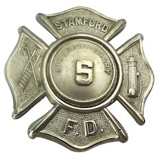 Vintage Fire Dept. Badge Stamford F.D. Supernumerary by Braxmar Co.