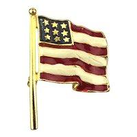 Vintage Painted Enamel American Flag Pin Brooch