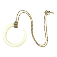 Kenneth Lane Boho Tusk Horn Necklace w/ Faux Lapis  KJL