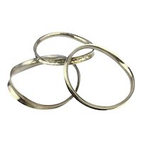 Set of 3 Handmade Sterling Silver Wavy Bangle Bracelets