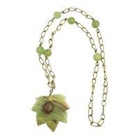 Vintage HOBE Marbled Onyx Leaf Pendant Necklace w/ Bug