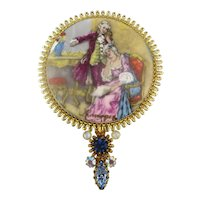 Limoges Jeweled Painted Miniature Hand Mirror Romantic Violin Couple