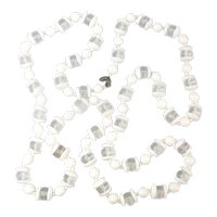 Long Miriam Haskell White n Clear Lucite Bead Necklace