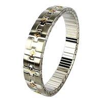Vintage MILOR Steel - 18K Gold Expansion Bracelet