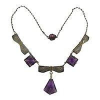 So Sweet Art Deco Pressed Glass Brass Filigree Necklace