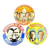 3 Ronald Reagan Inauguration Day Pins Large 3.5 Inch Jugates