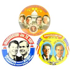 3 Ronald Reagan Inauguration Day Pins Large 3.5 Inch Jugates