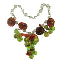 Dangling Lucite Grapey Clusters Necklace
