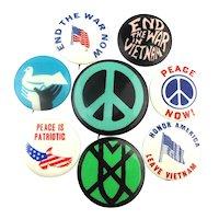 1960s Anti Vietnam War Protest Cause Pins Peace Patriotic