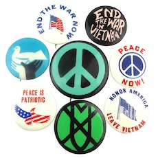 1960s Anti Vietnam War Protest Cause Pins Peace Patriotic