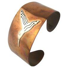 Vintage COBRE Mexico Copper Cuff Bracelet w/ Sterling Silver Bird