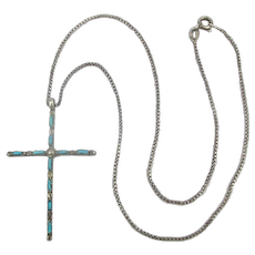 Navajo Slim Sterling Silver Cross w/ Turquoise Necklace