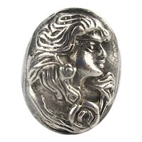 Sterling Silver Ring Lady Portrait in Raised Relief
