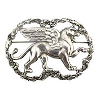 Vintage CORO Winged Griffin Gryphon Pin Brooch