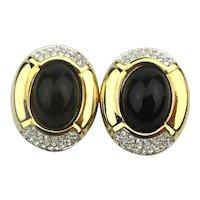 Vintage S.A.L. Swarovski Rhinestone Clip Earrings
