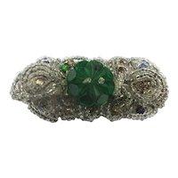 Dainty Art Deco Era Hand Beaded Glass Pin Brooch