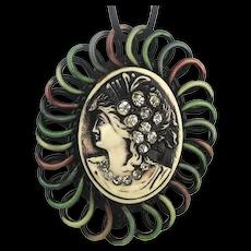 1920s Art Deco Celluloid Rhinestone Lady Pendant Necklace