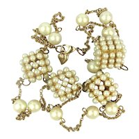 Vintage CAROLEE Necklace of Faux Pearl Boxes