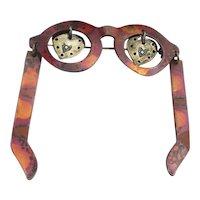Unique Eyeglasses Pin Brooch Handmade Copper w/ Sterling