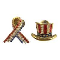 Vintage His n Hers Patriotic Rhinestone Lapel Pins