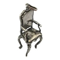 Fancy Sterling Silver CHAIR Charm Pendant Miniature Figural