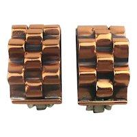 Modernist RENOIR Rippling Rolling Copper Clip Earrings