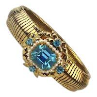 CORO Pegasus Goldtone Expansion Bracelet Jeweled Top 1940s
