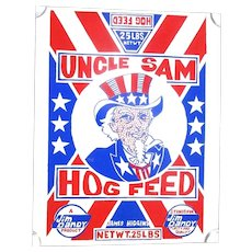 Vintage UNCLE SAM Hog Feed Silkscreen Poster