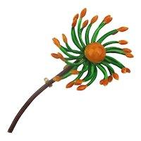 Great Enamel Flower Pin Signed Original by Robert