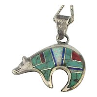 Sterling Turquoise Fetish Bear Pendant Necklace Channel Inlay Stones