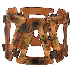 Rebel Copper Enamel Link Bracelet Jeweled UP DOWN