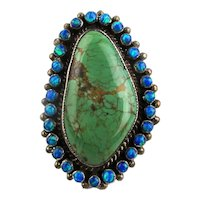 Big ZUNI Turquoise Sterling Silver Ring w/ Manmade Opals