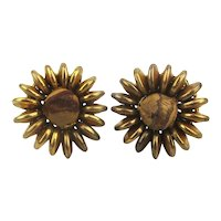 Miriam Haskell Gilded Brass Clip Earrings w/ Wood