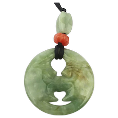 Carved Jade Moon Face Kissing Itself Pendant Necklace