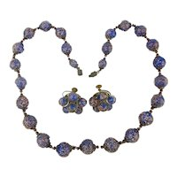 Old Italian Flecked Glass Necklace Earrings Set