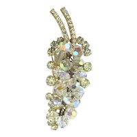 Austrian Crystal Dangle Grapes Pin Brooch