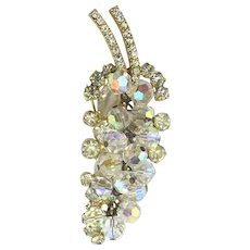 Austrian Crystal Dangle Grapes Pin Brooch