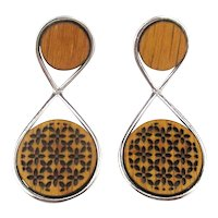 Modernist Chrome Carved Wood Earrings Very Unique